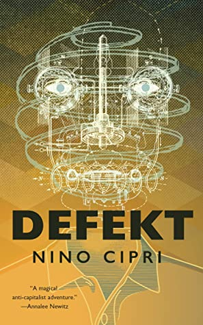 The cover for DEFEKT is in sepia tones and features a polo shirt topped by an expanded diagram of what looks like an android's head, perfectly mapped out for assembly.
